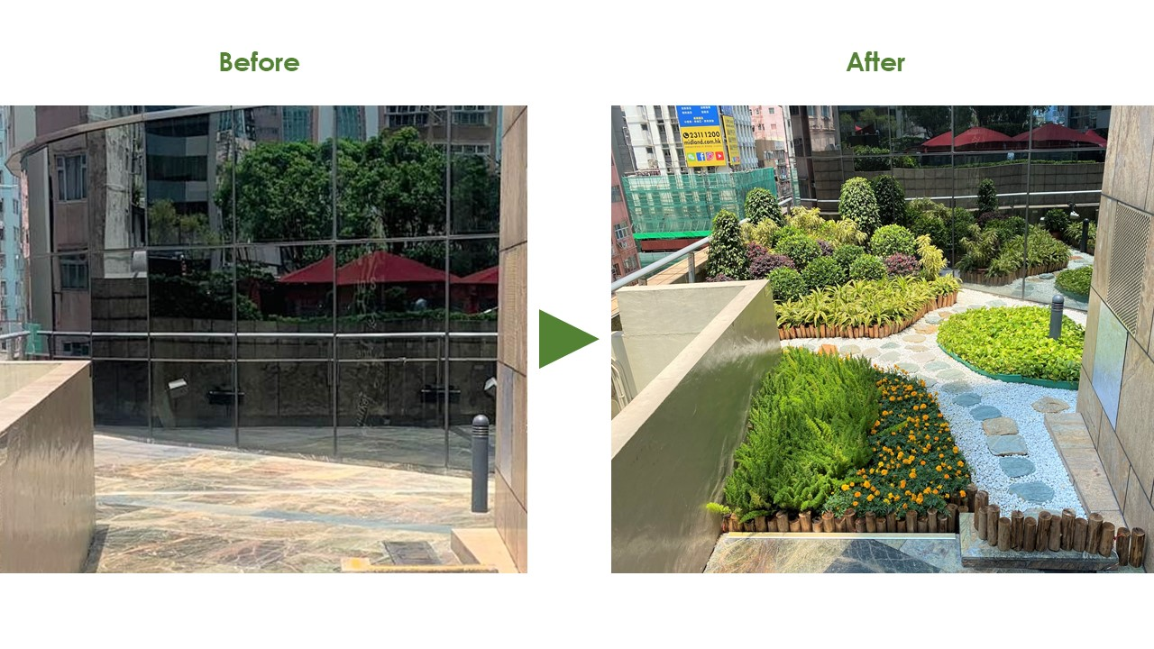 Outdoor little garden at Langham Place